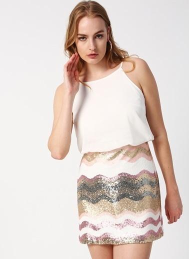 Koton İp Askılı Desenli Mini Elbise Renkli